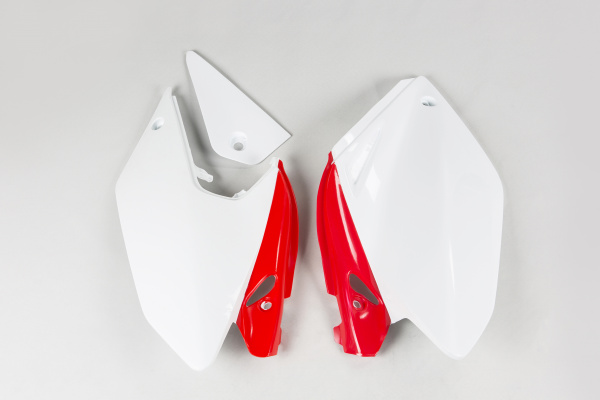 Side panels - white-red - Honda - REPLICA PLASTICS - HO03647-W - UFO Plast