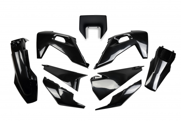 Complete body kit / With headlight - black - Husqvarna - REPLICA PLASTICS - HUKIT623-001 - UFO Plast