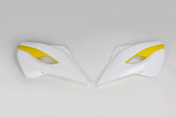 Radiator covers / White-yellow - oem 15 - Husqvarna - REPLICA PLASTICS - HU03353-W - UFO Plast