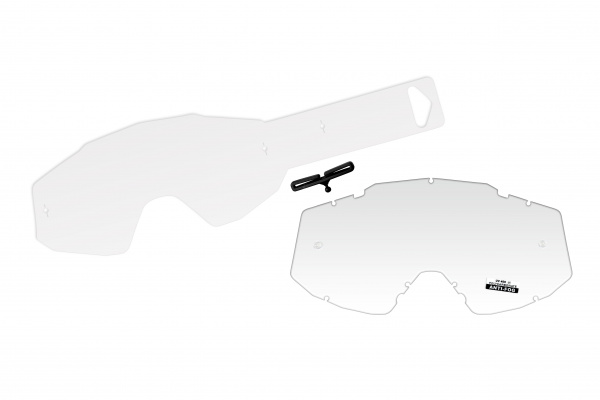 Clear lens with 10 tear off's for motocross Mystic google - Goggles - LE02200 - UFO Plast