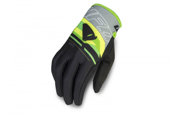 Motocross Joint gloves black, gray and neon yellow - Gloves - GU04451-E - UFO Plast