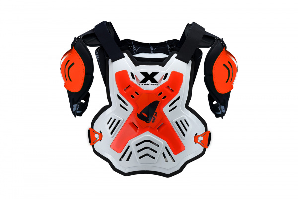 Motocross X-Concept chest protector white and neon red - Chest protectors - PT02378-FFLU - UFO Plast