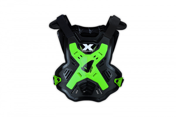 Motocross X-Concept Evo chest protector without shoulders black and neon green - Chest protectors - PT02386-AFLU - UFO Plast