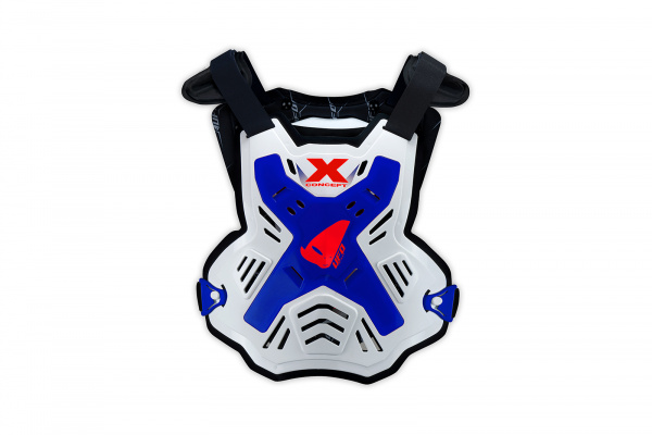 Motocross X-Concept Evo chest protector without shoulders white and blue - Chest protectors - PT02386-C - UFO Plast