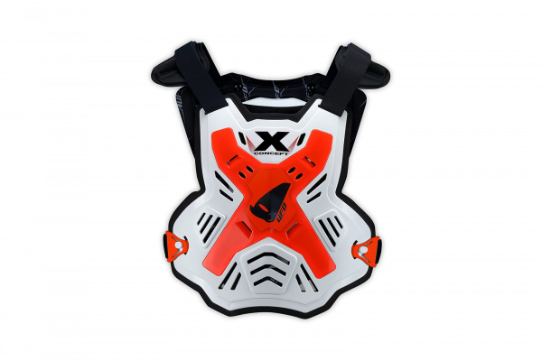 Motocross X-Concept Evo chest protector without shoulders white and neon red - Chest protectors - PT02386-FFLU - UFO Plast