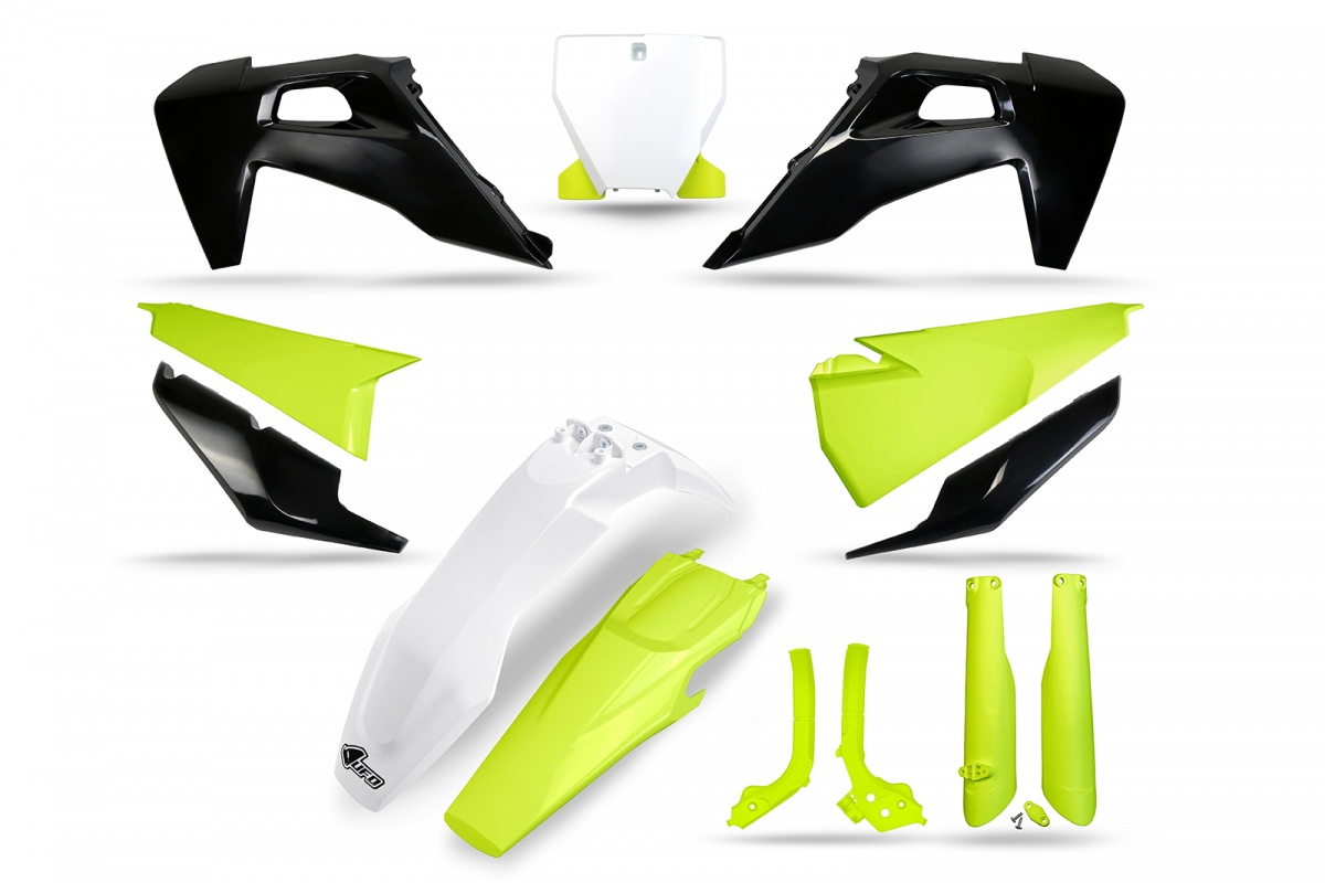 Complete body kit - neon yellow and grey - Husqvarna - REPLICA PLASTICS - HUKIT624-111 - UFO Plast