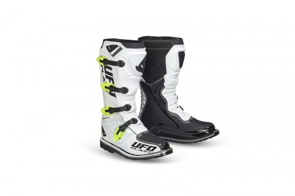 Motocross Obsidian boots white and neon yellow - Boots - BO006-W - UFO Plast