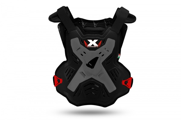 Motocross X-Concept Evo chest protector without shoulders grey and red - Chest protectors - PT02386-KE - UFO Plast