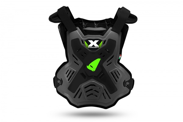 E-bike X-Concept Evo chest protector without shoulders grey and neon green - Chest protectors - PT02386-EK - UFO Plast
