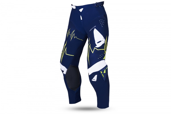 Motocross Slim Adrenaline pants blue and neon yellow - NEW PRODUCTS - PI04486-N - UFO Plast