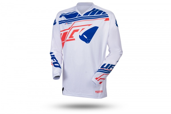Motocros Heron jersey white, blue and red - NEW PRODUCTS - MG04492-W - UFO Plast